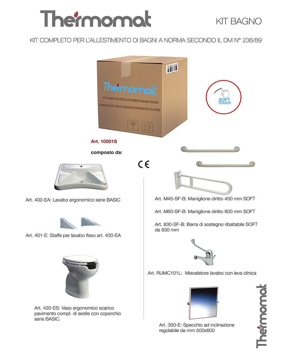 Accessori Bagno Disabili Thermomat.Thermomat Kit Completo Per L Allestimento Di Bagni Per Disabili A Norma Secondo Il Dm N 236 89 Universo Ceramiche