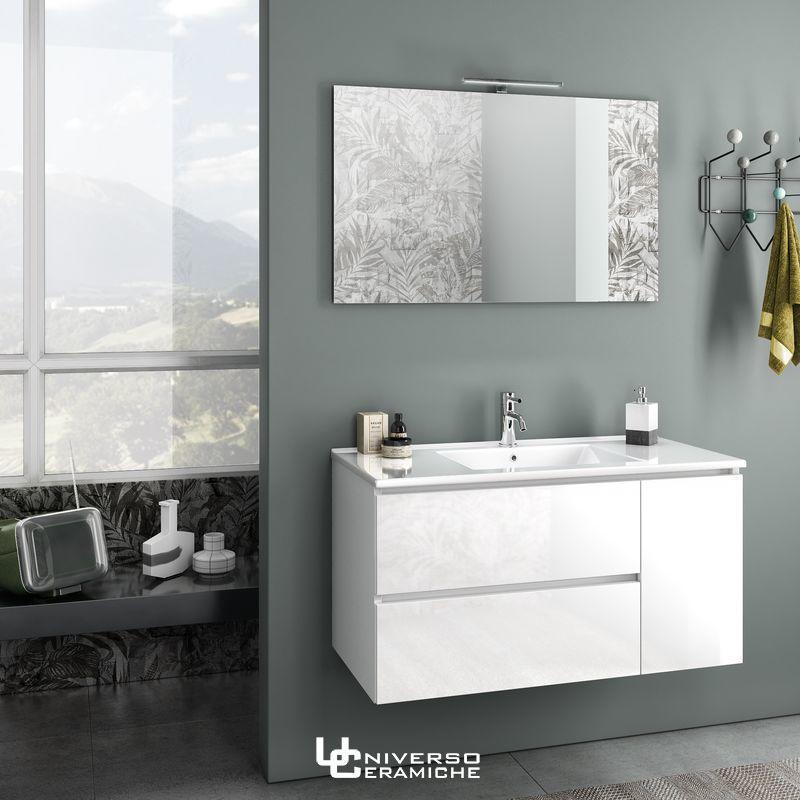 Composizione zoe 100cm bianco lucido mobile bagno for Composizione bagno
